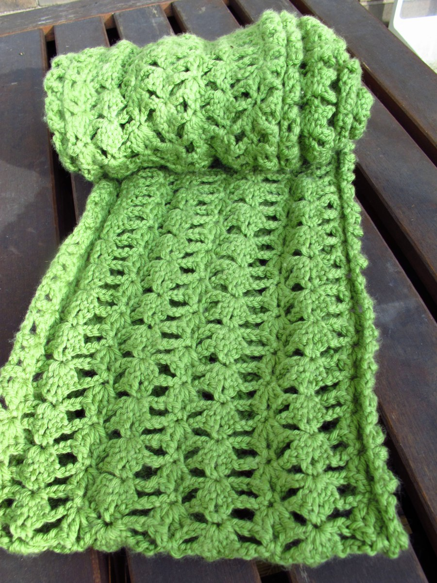 DIY: Crocheted Lacy Green Infinity Scarf and Free Pattern
