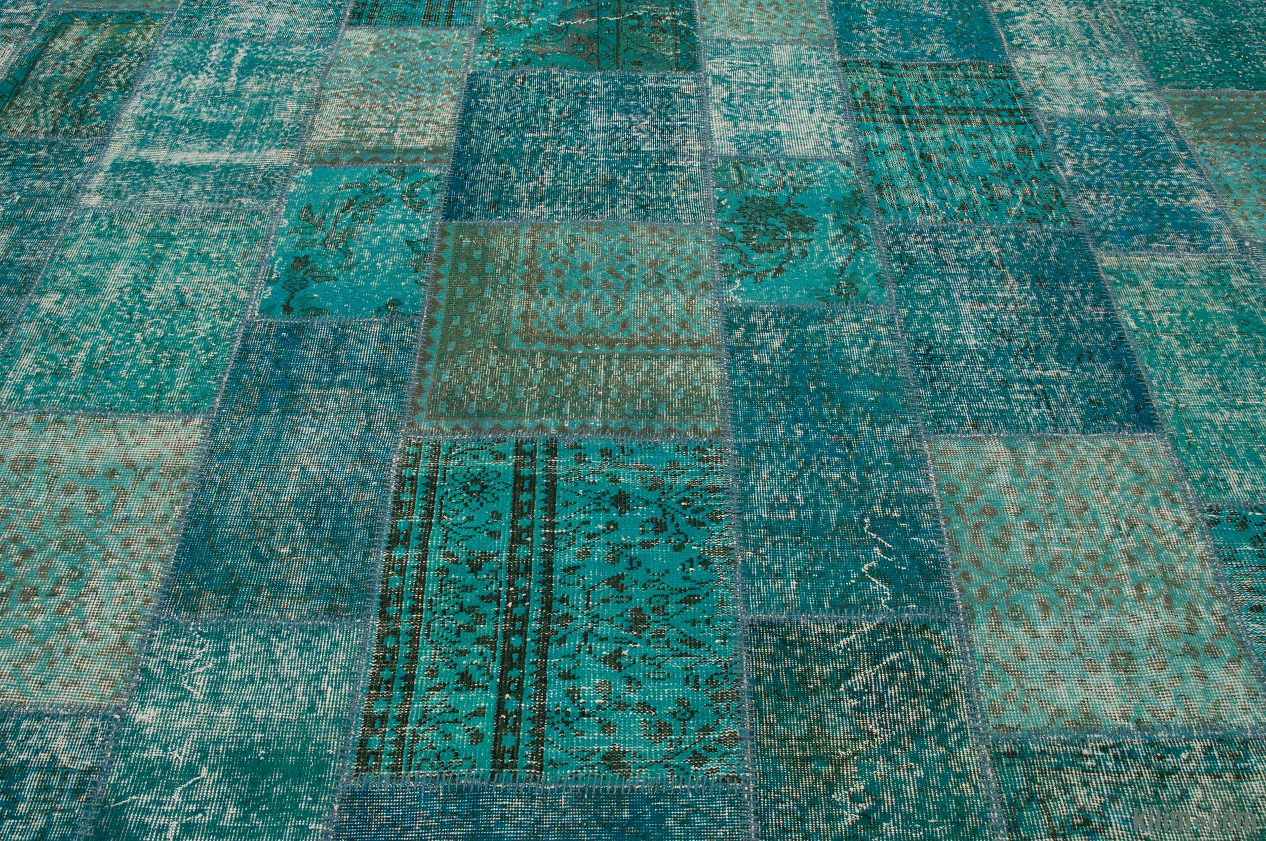 K0008015 Turquoise Over Dyed Turkish Patchwork Rug