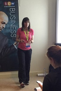 Kim speaking in Philadephia at the SWC fitness education conference, February 2016.