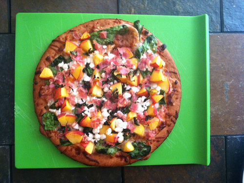 peach and pancetta pizza cooked