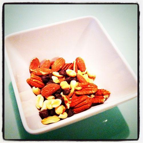 simple snack dark chocolate chips dried cherries almonds peanuts