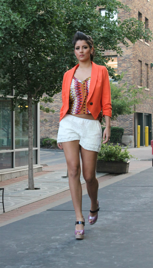 lace shorts and cropped coral jacket