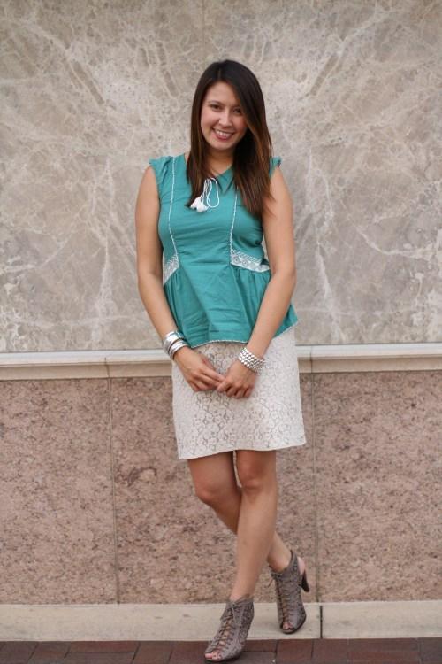 teal peplum top and lace skirt @kimberlyloc
