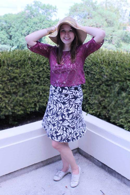 @kimberlyloc burgundy lace top + black & white printed skirt