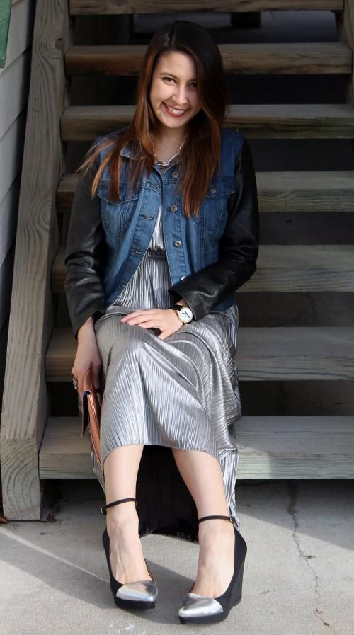 kimberlyloc shiny silver maxi dress