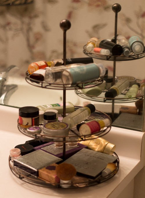 beauty stand on vanity