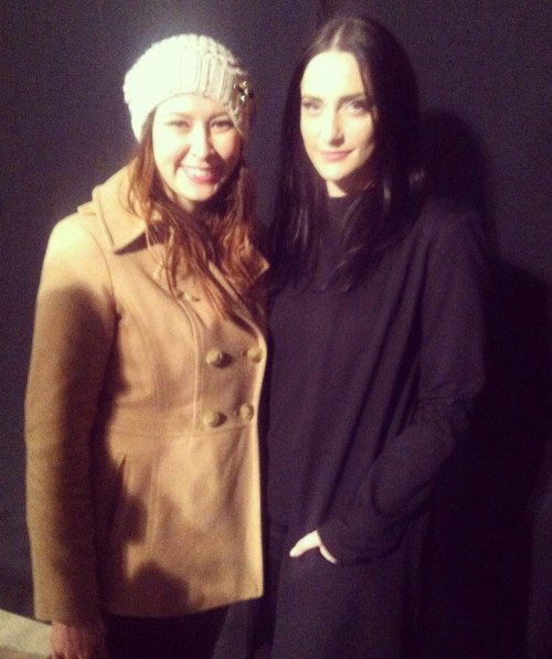 kimberlyloc backstage with designer sally lapointe during mercedes benz fashion week fall/winter 2013 presentations