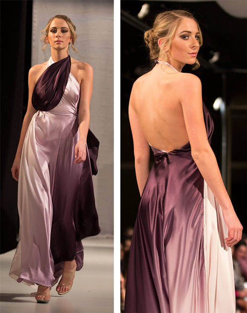 {This shades-of-amethyst dress from WM Couture floated down the runway and had me put my camera down several times to admire it. The open back is so sexy and well-made.}