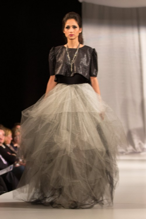 {LB by Lauren Bander had me gasping as this dramatic Black Swan-like getup came down the catwalk.}