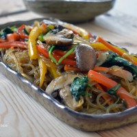 Japchae (잡채) - sweet potato starch noodles with vegetables