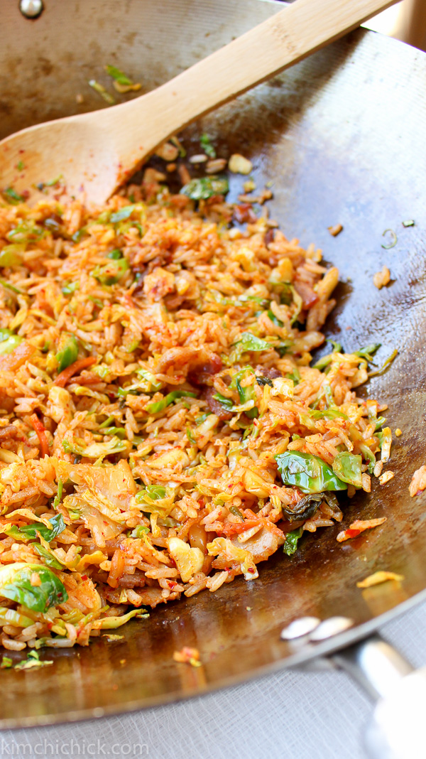 Brussels Sprout Bacon Kimchi Fried Rice - KimchiChick