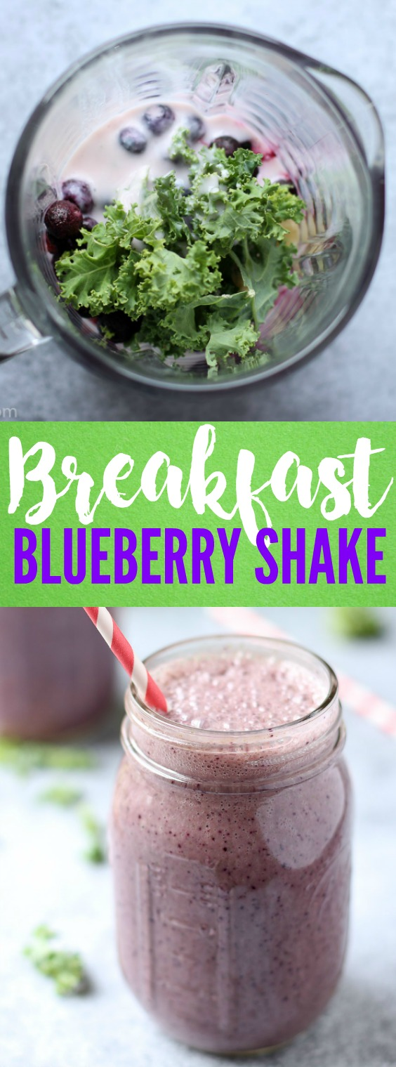 Start your day off with this 5 ingredient breakfast blueberry shake. It's on-the-go, takes 5 minutes to make, and packed with vitamins and probiotics! |www.kimchichick.com