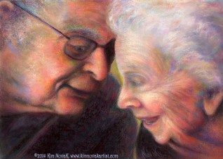 """They Left Laughing,"" Original Painting of an elderly couple laughing together as the man whispers in the woman's ear, by Kim Novak. Copyright 2014 Kim Novak. All rights reserved."