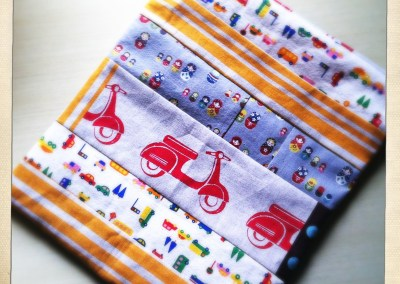 Scrap fabric pieced together = toddler funtimes.