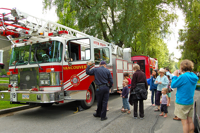 Fire truck at block party, image.