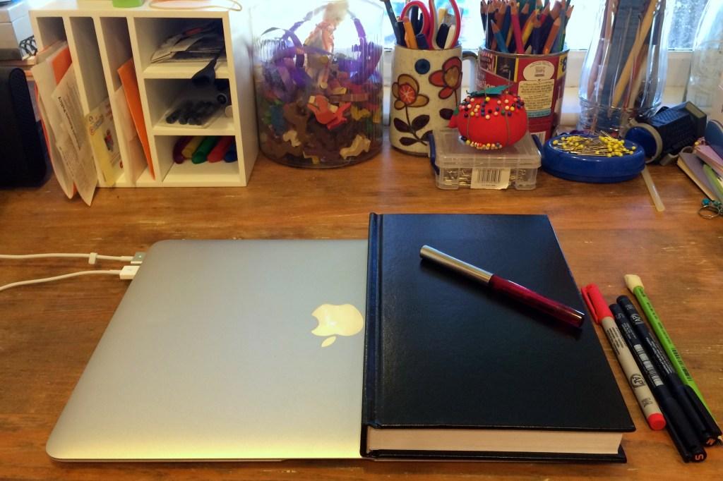 Bullet journal on desk