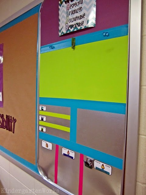 KindergartenWorks :: brightly colored, fully functional {how to make an everything board}