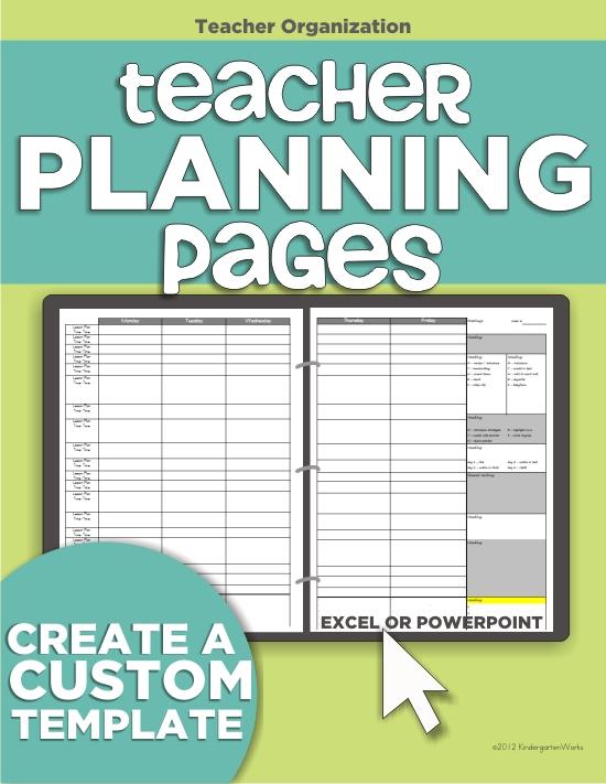 Teacher Organization - 5 Must Have Printables KindergartenWorks - make your own template