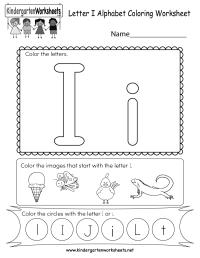 Free Printable Letter I Coloring Worksheet for Kindergarten