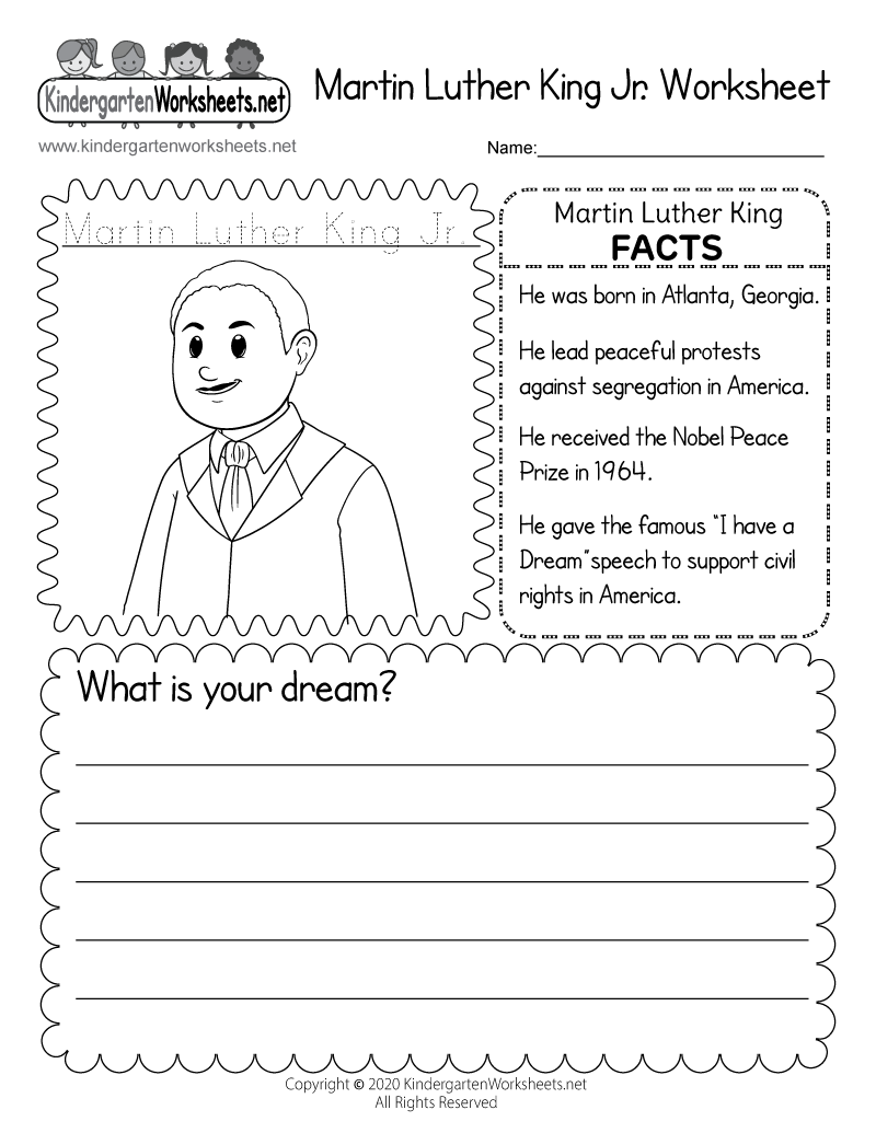 worksheet Martin Luther King Worksheet worksheets kindergarten dr king printable coloring pages martin luther jr kindergarten