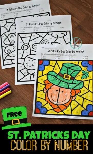 FREE St Patricks Day Color by Number \u2013 Kindergarten Worksheets and Games