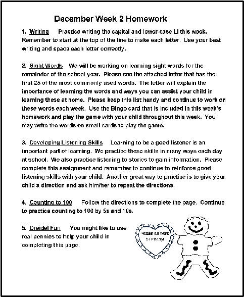 December Homework Ideas - letters to the parents