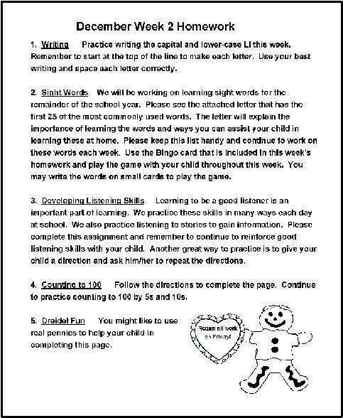 December Homework Ideas