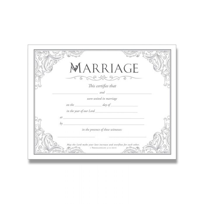 Marriage Certificate- Silver Foil Embossed