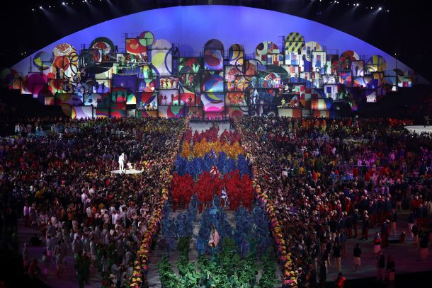 RIO A general view during the Opening Ceremony of the Rio 2016 Olympic Games at Maracana Stadium on August 5, 2016 in Rio de Janeiro, Brazil. (Photo by Patrick Smith/Getty Images)