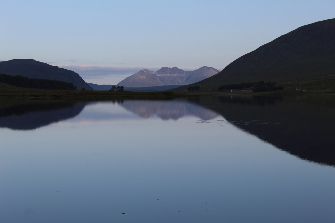 Early morning view of An Teallach from Loch Droma