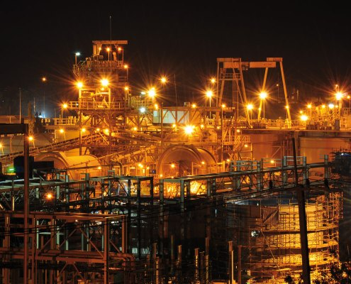 Chatree processing plant at night