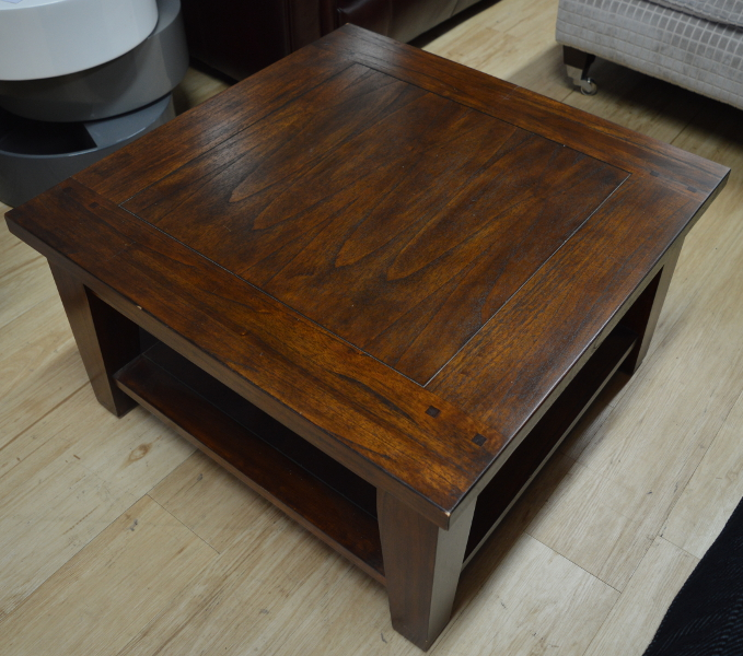 Square Dark Wood Coffee Table