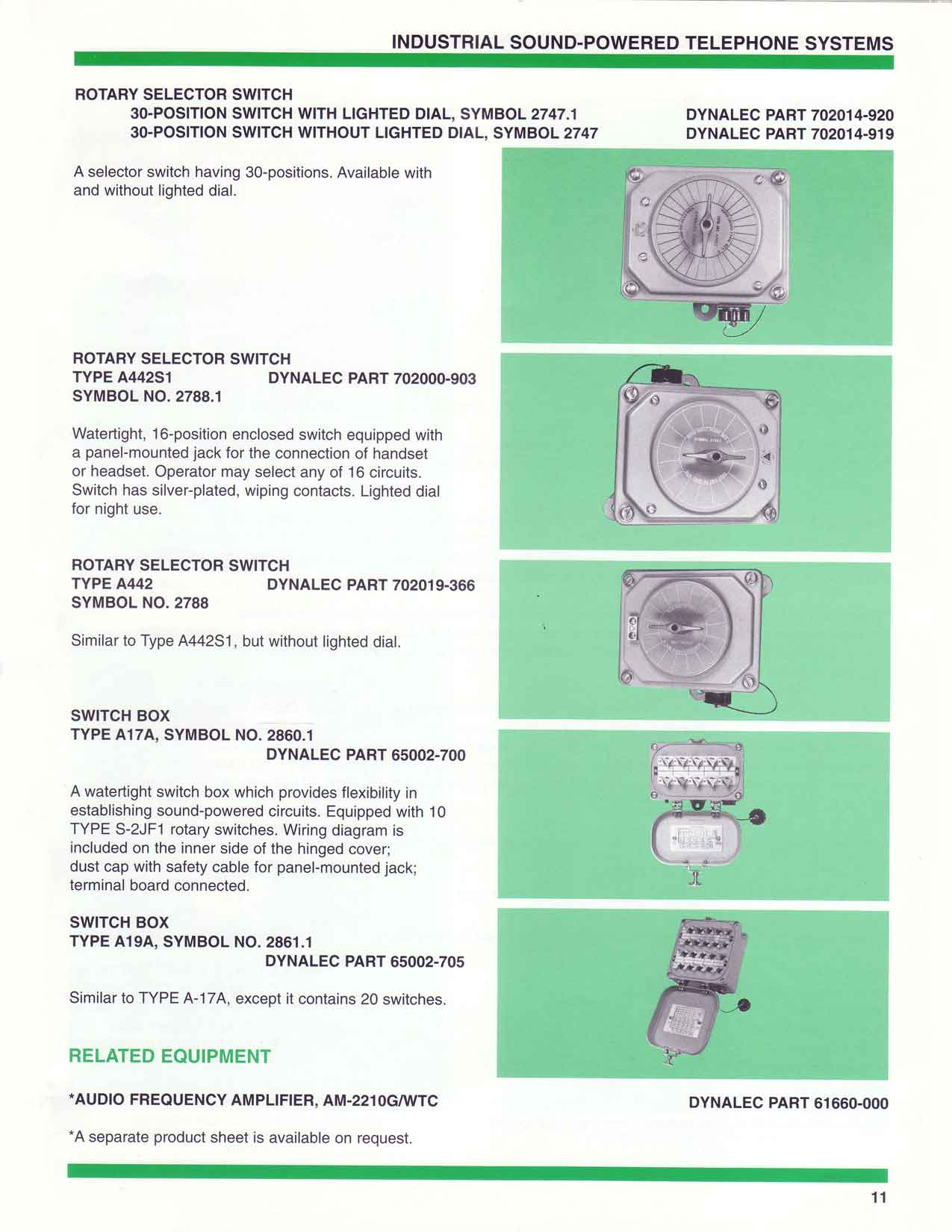 Sound Powered Telephone Wiring Diagram Auto Electrical Audio Rotary Switch Dynalec 22 Images