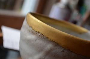 fine powdered gold before polishing kintsugi