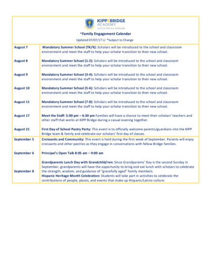 Family Engagement Calendar Agenda KIPP Bay Area Schools - family agenda
