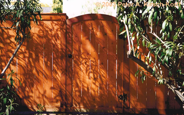 Mission Style Wood Fencing With Arched Gates - Bel Air, Bradbury