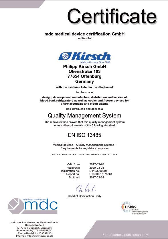 DIN EN ISO 13485 - KIRSCH pharmaceutical refrigerators, blood bank