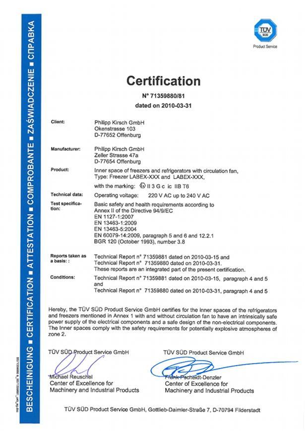 Certificates - KIRSCH pharmaceutical refrigerators, blood bank