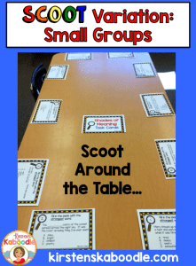 These top ten uses for task cards in the classroom are easy, fun, and engaging for students! Play a version of scoot with small groups by placing task cards around the table at each spot.