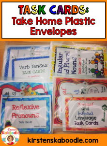 These top ten uses for task cards in the classroom are easy, fun, and engaging for students! Make it easy for students to take home task cards by using clear plastic envelopes.