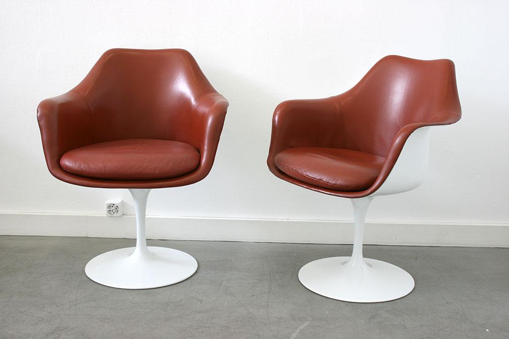 saarinen 6 fauteuils tulipe cuir knoll lausanne suisse. Black Bedroom Furniture Sets. Home Design Ideas