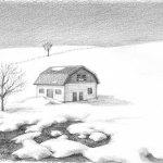 『雪景色』 講師・鉛筆画