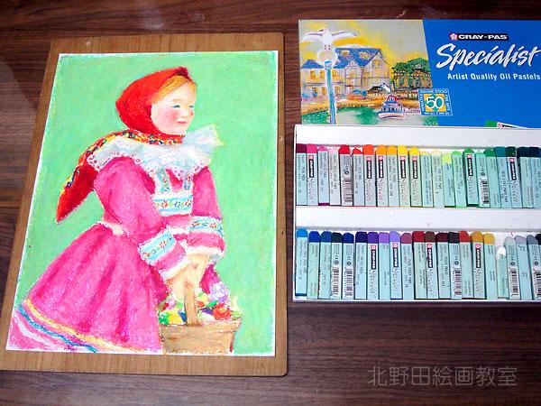 民族衣装の少女(クレヨン画・F4号)