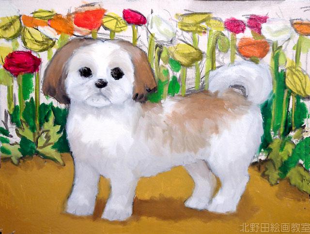 北野田絵画教室 犬の肖像画ご依頼(ガジュマル)
