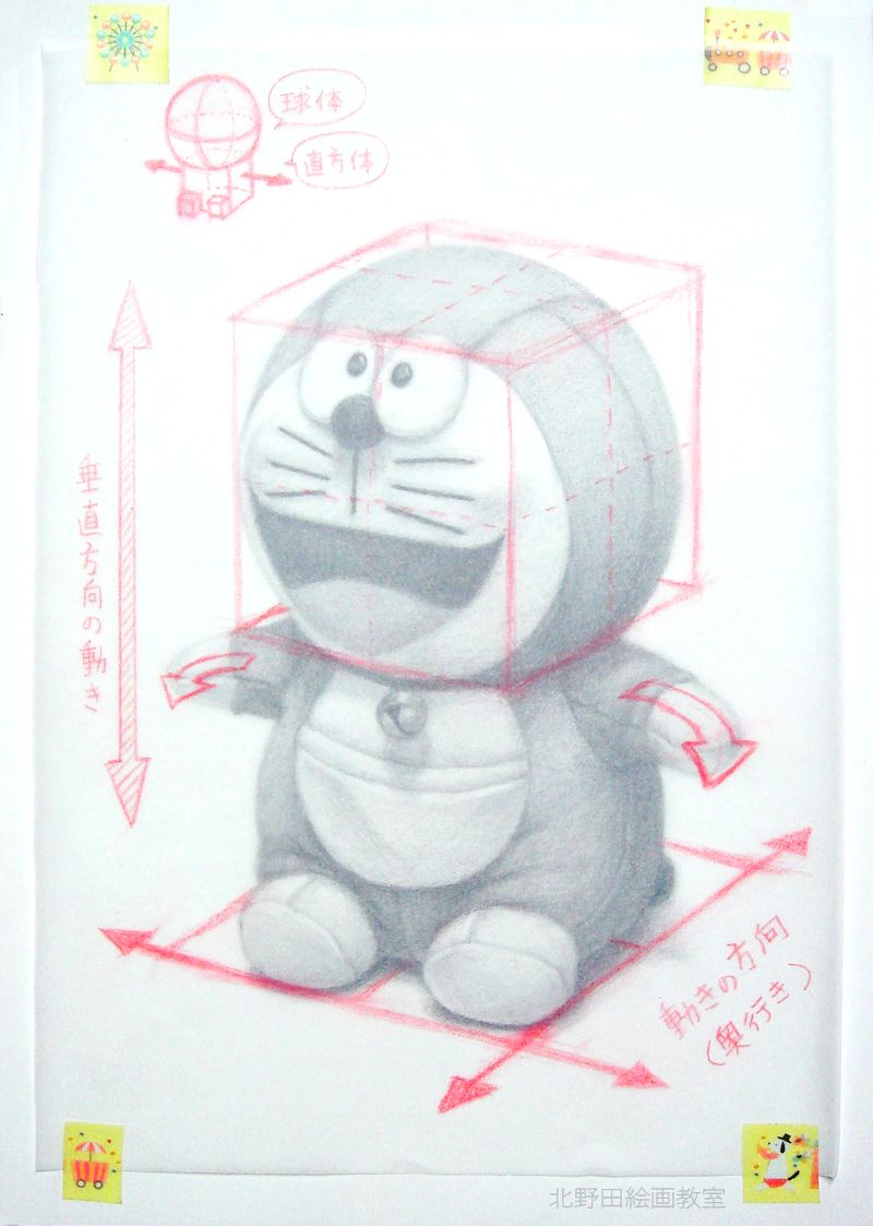 鉛筆デッサンの描き方(ドラえもんぬいぐるみ)6
