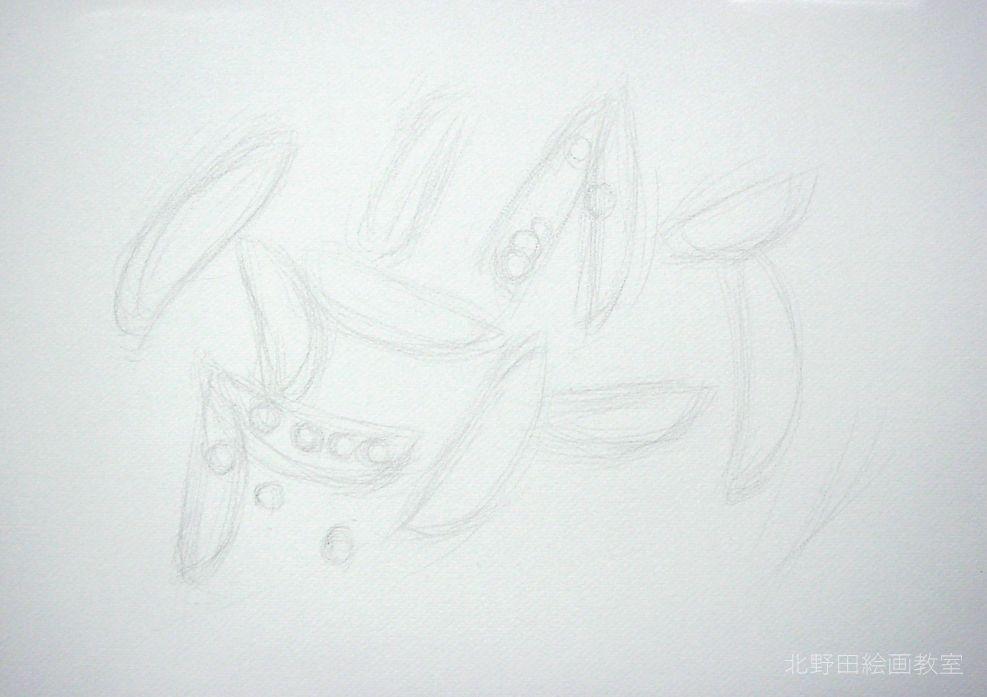 水彩色鉛筆の描き方・えんどう豆1