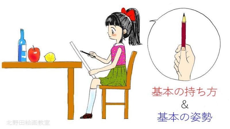 デッサンの姿勢と鉛筆の持ち方2 北野田絵画教室