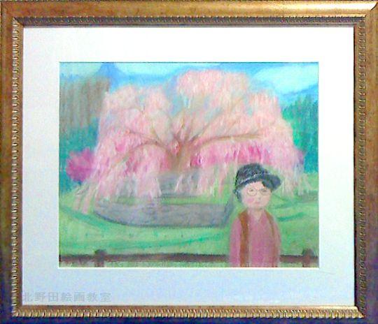 けいこさん・パステル画F6号・母親と桜