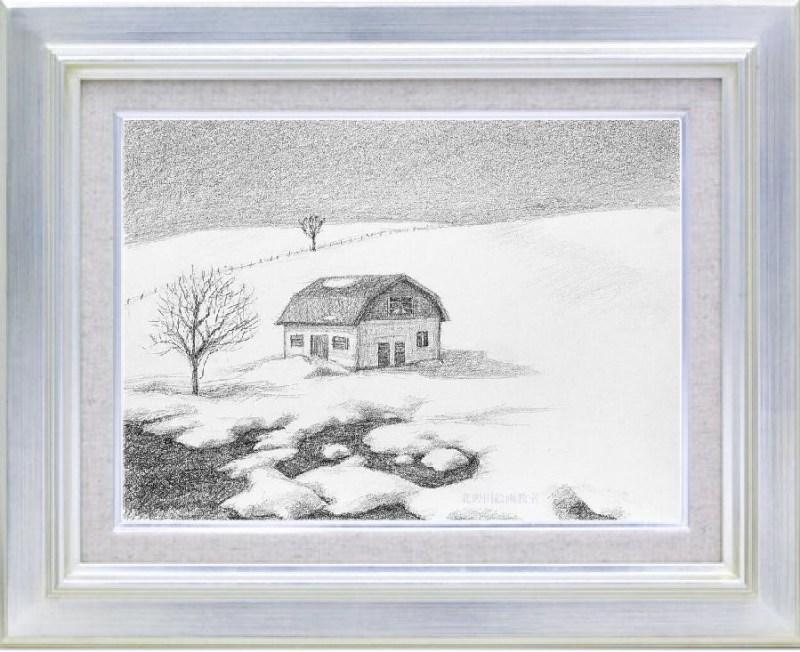 『 雪景 』(講師・鉛筆画・サムホールサイズ)