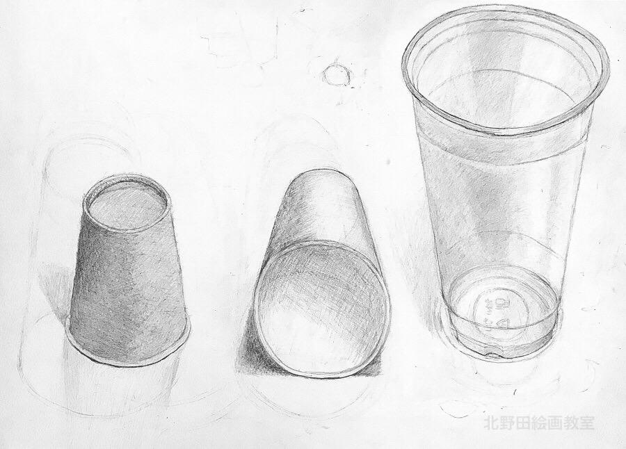 サキさん 鉛筆デッサン 紙コップ